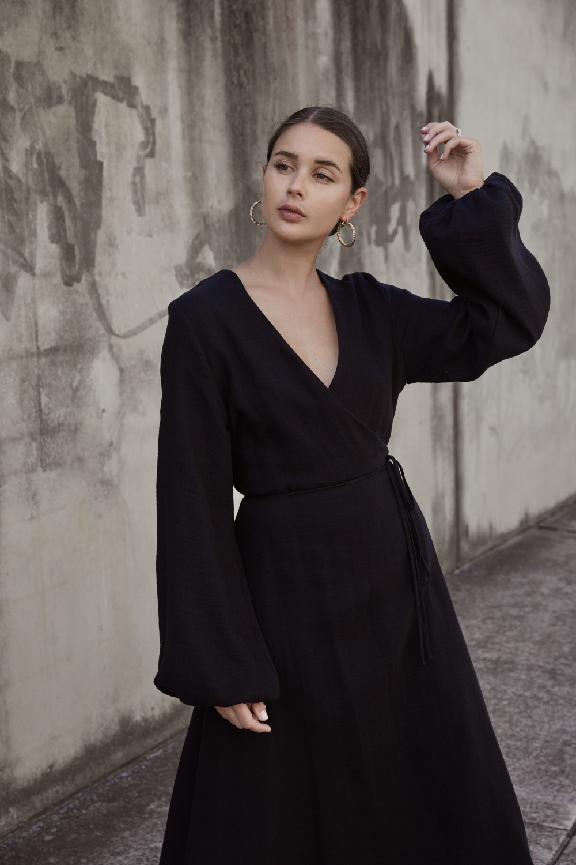 Black wrap dress | Matin Studio | The UNDONE | Street style | Outfit | HarperandHarley