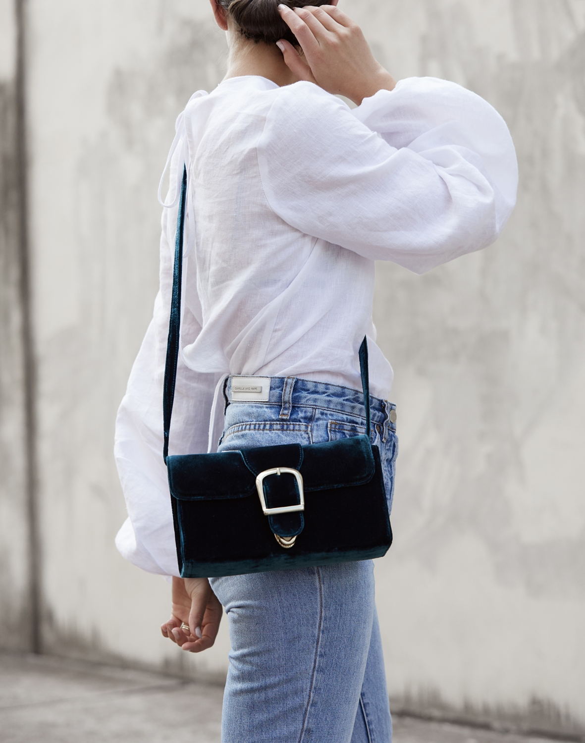 white shirt and blue jeans | Velvet bag | HarperandHarley