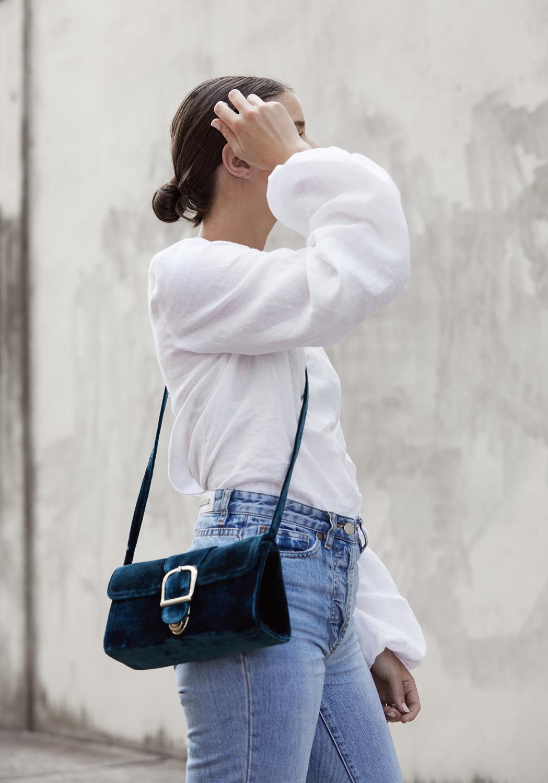 white shirt and blue jeans | Velvet bag | HarperandHarley