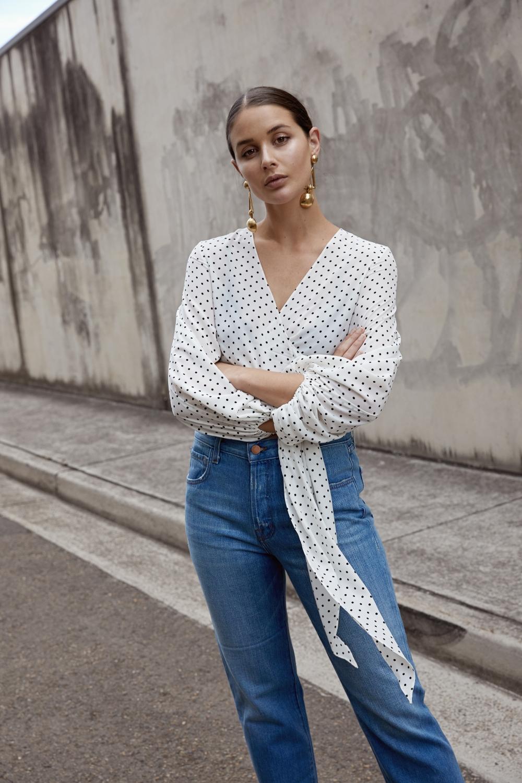 polka dart | wrap top | spots | blue denim | street style | HarperandHarley