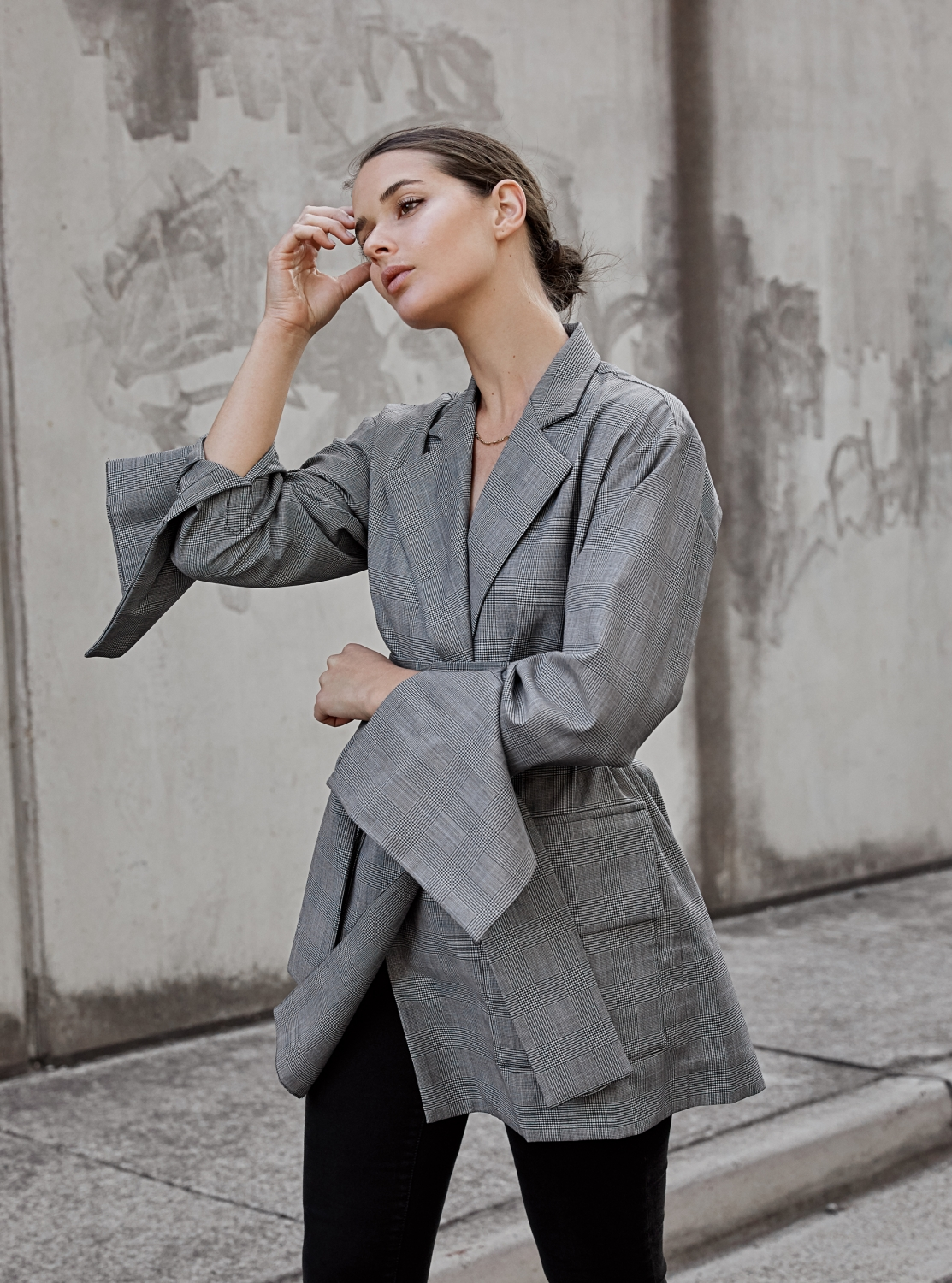 Check blazer | plaid | wrap jacket | grey and black | harperandharley