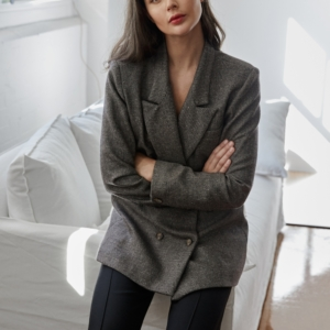 Harper and Halrey wears Matin Studio grey blazer