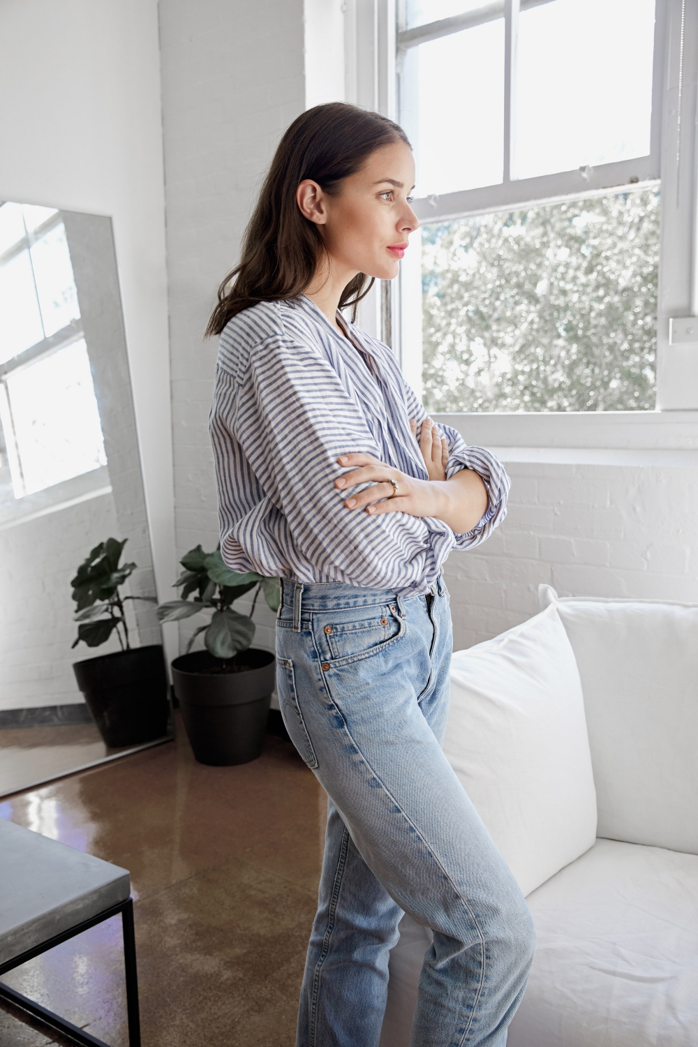 blue and white stripe top with blue jeans | Style | Outfit| HarperandHarley