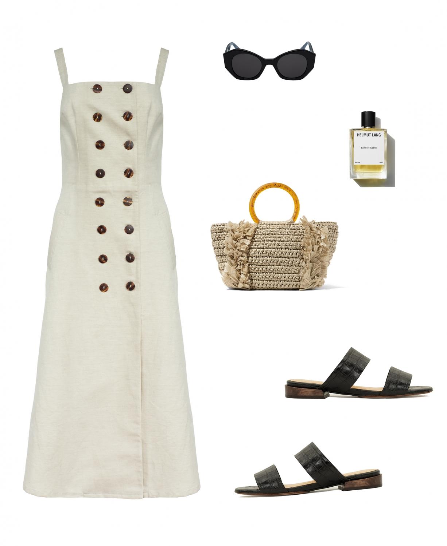 Albus lumen dress | Mari Giudicelli sandals | Staw bag | HarperandHarley outfit