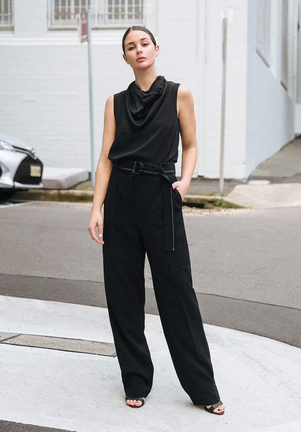 All black outfit | Joseph pants and top | style | Harper and Harley