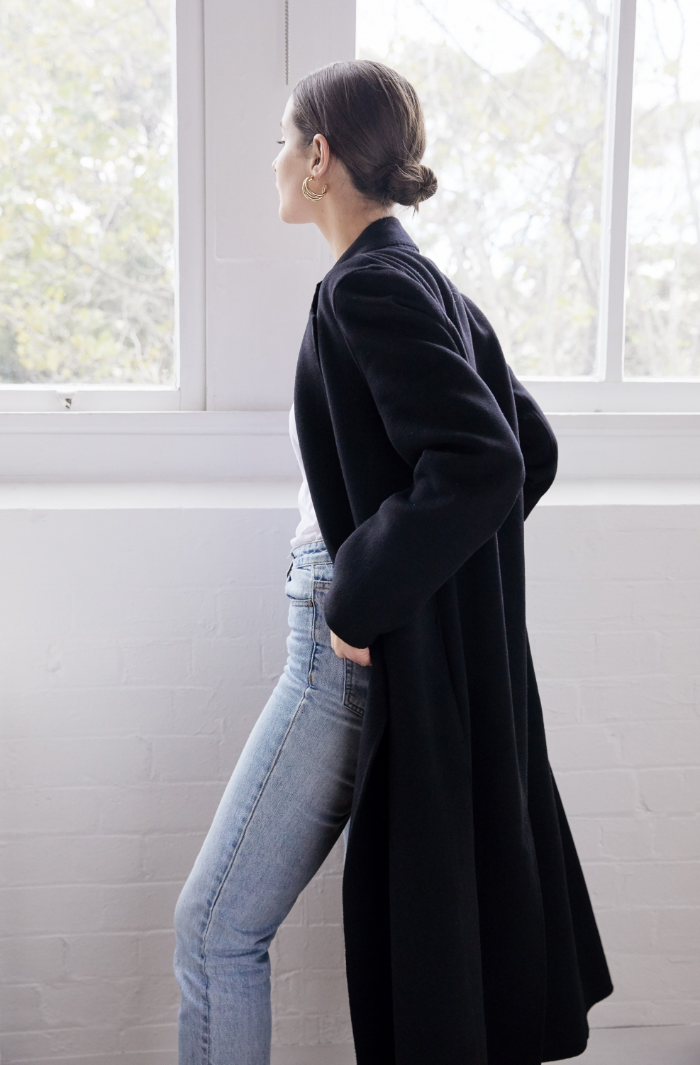 Long Black Coat and Blue Jeans | Style | Outfit | HarperandHarley