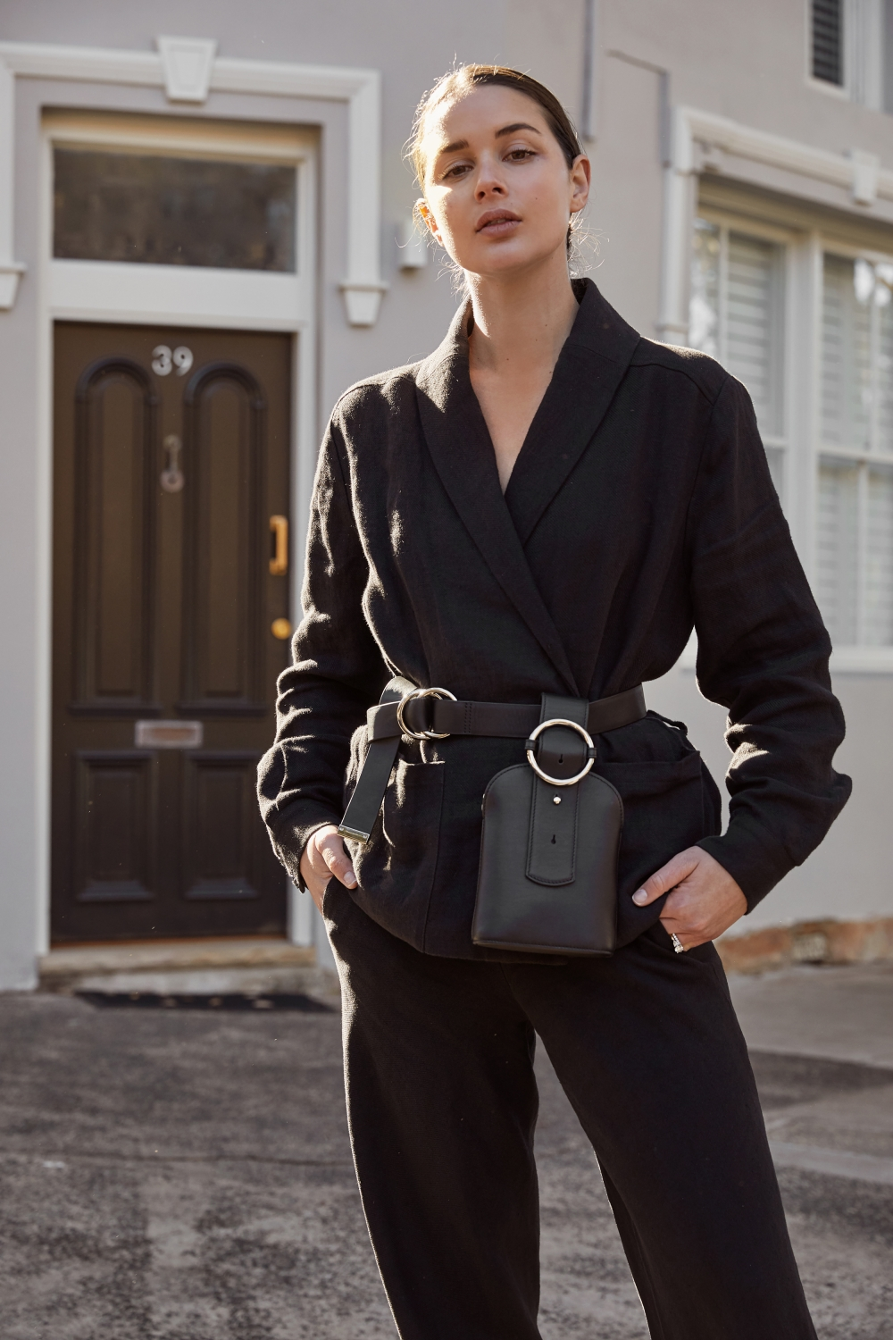 all black outfit | Parisa Wang x Zanita belt bag bum bag | Outfit | style | HarperandHarley