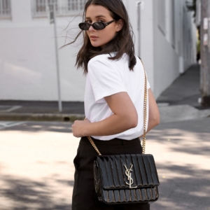 Saint Laurent Vicky Bag in black patent from Selfridges | How to style your designer bag | HarperandHarley