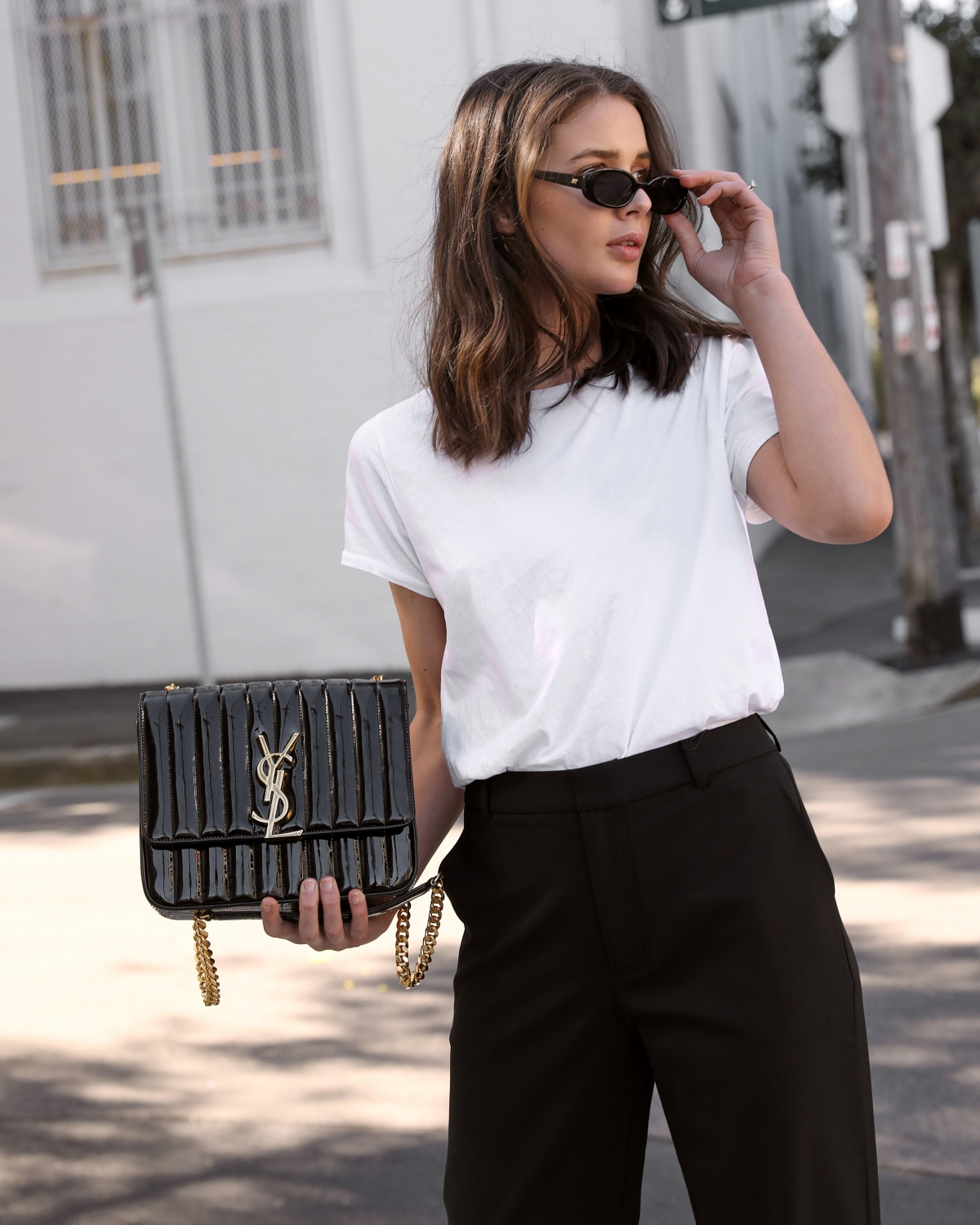 Saint Laurent Vicky Bag in black patent from Selfridges | Small sunglasses trend | HarperandHarley