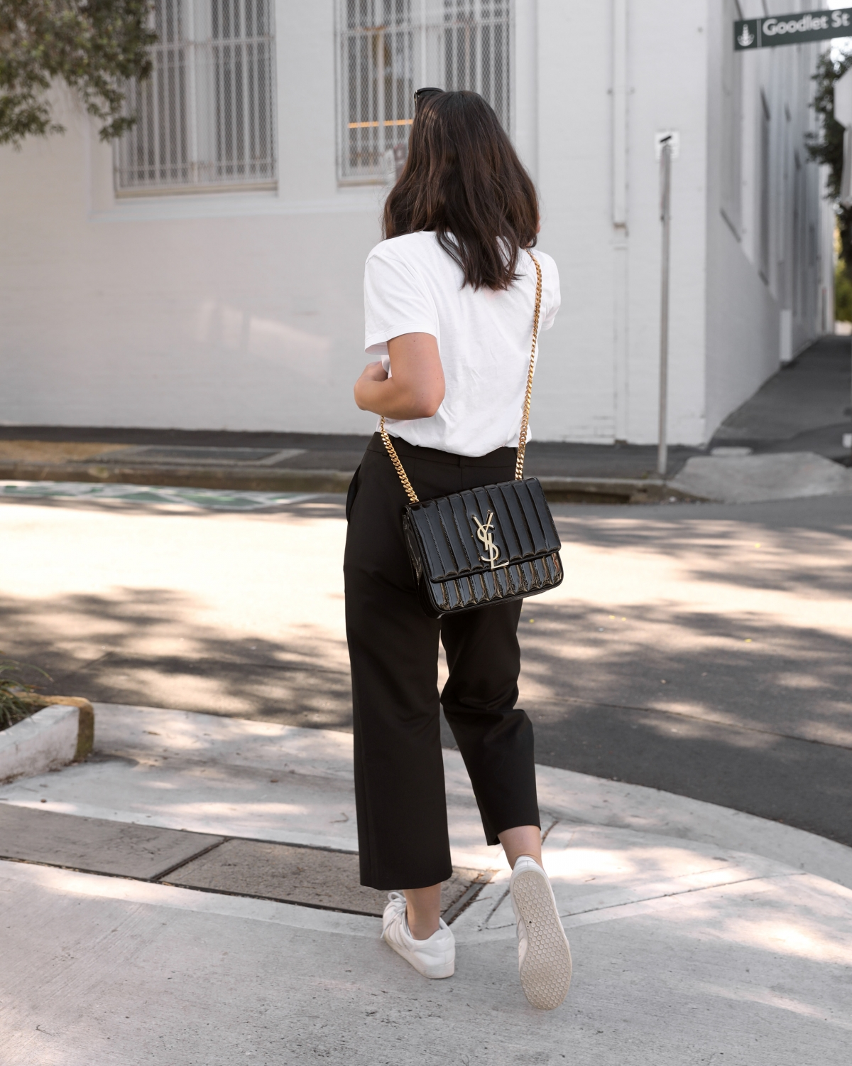 Saint Laurent Vicky Bag in black patent from Selfridges  Black and White Outfit   HarperandHarley