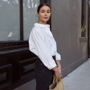 White shirt and high waisted jeans | harper and harley | Sara Crampton