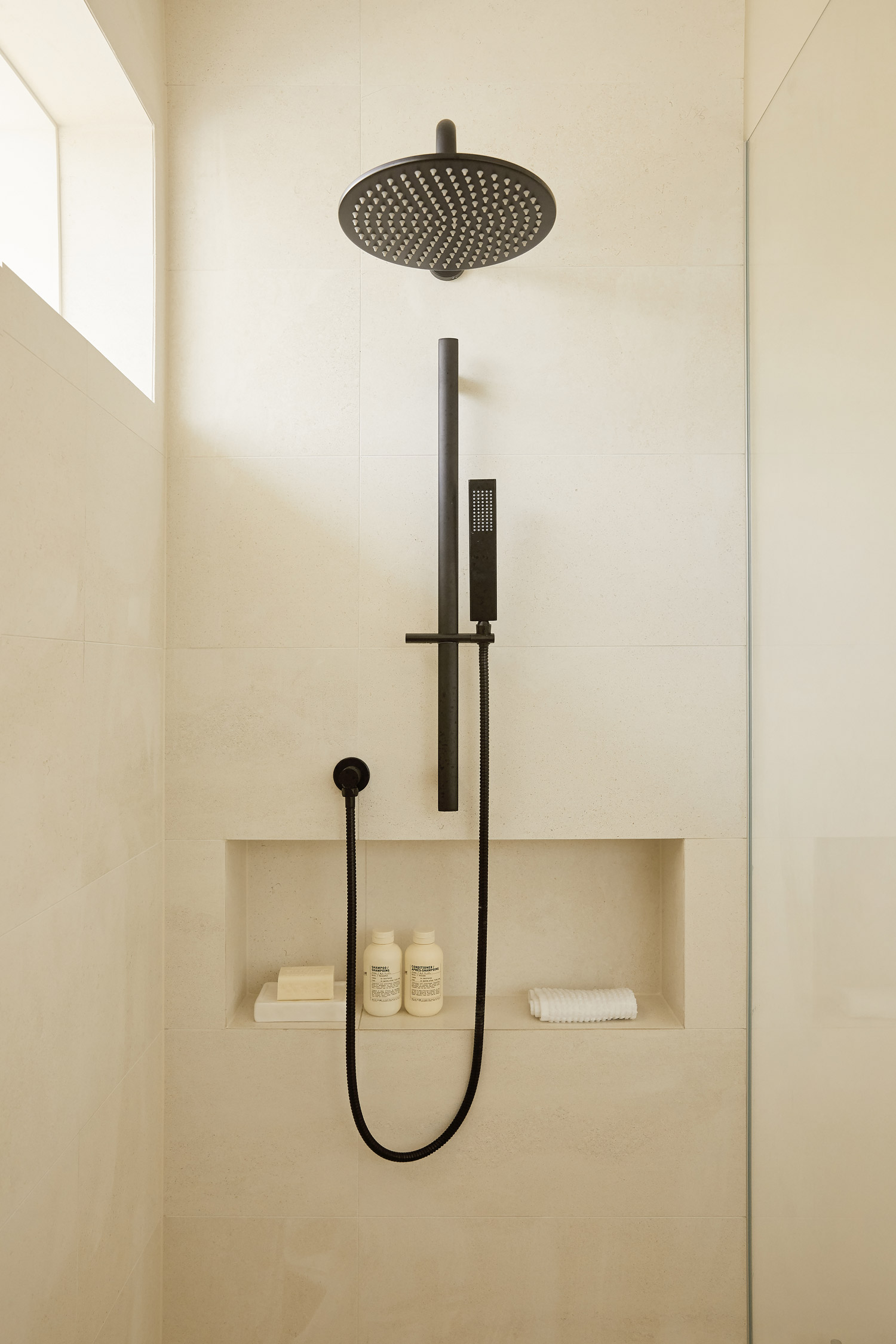 shower, black matte tapware, Warm minimalist bathroom in Sydney