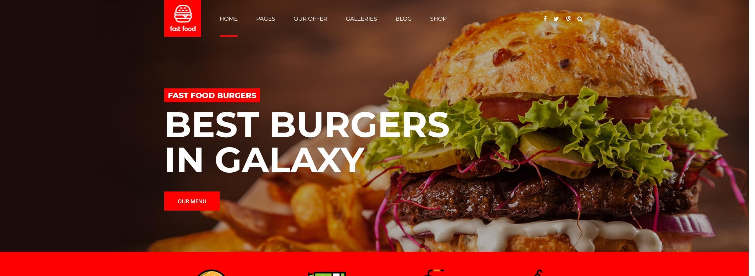 Burger and Fries Wordpress website, web design services
