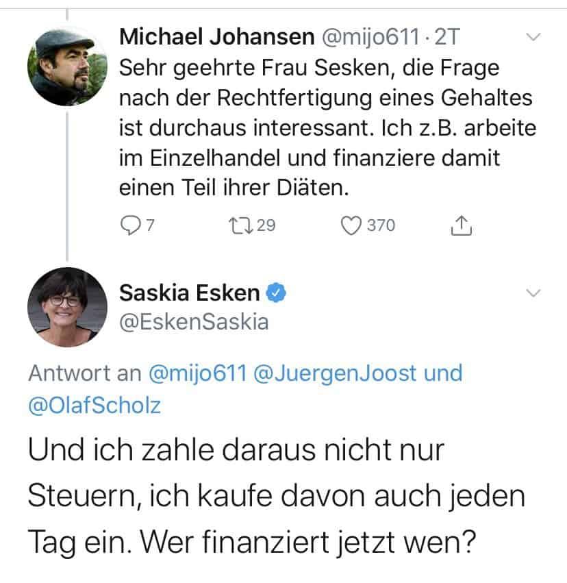 Tweet von Saskia Esken