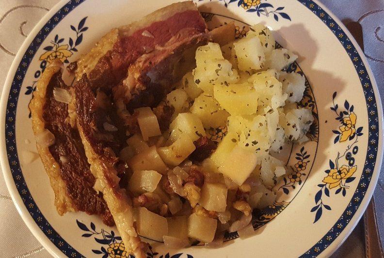 Pferderippe mit Salzkartoffel und Gemüse