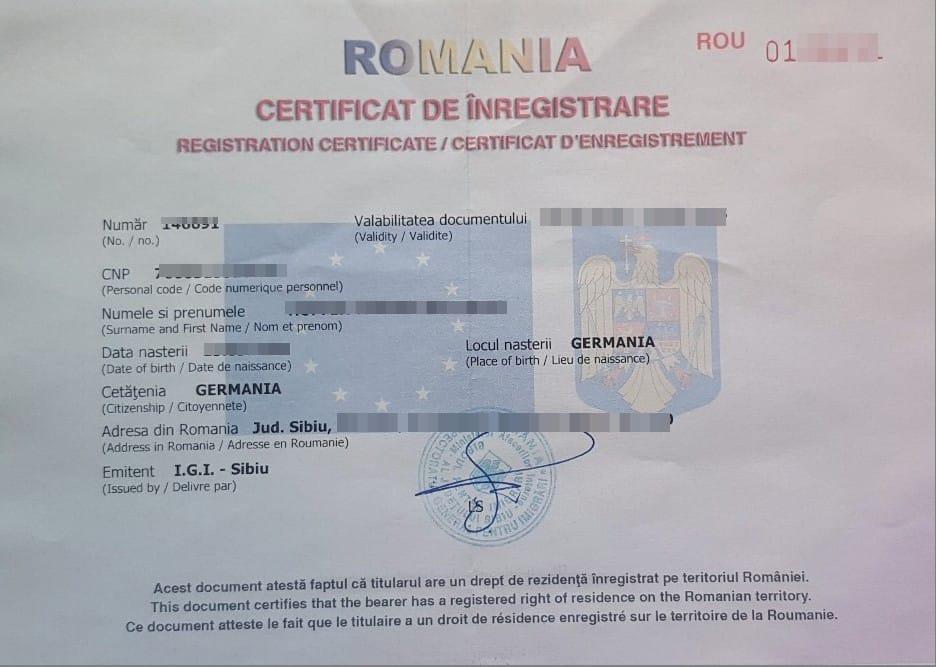 Certifikat De Înregistrare