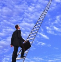 small business owner climbing up the ladder towards the clouds
