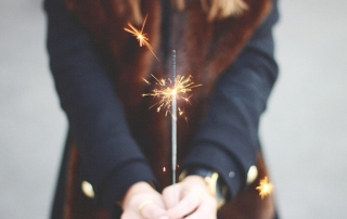Girl lighting sparklers