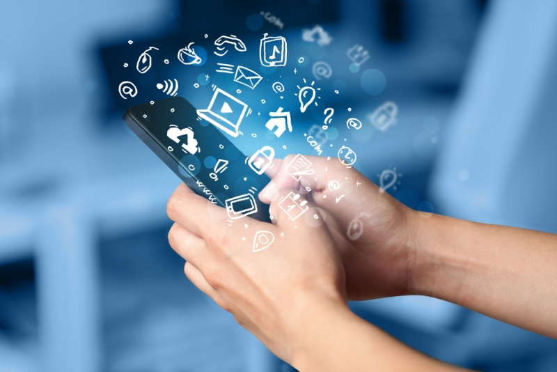 Person using mobile apps