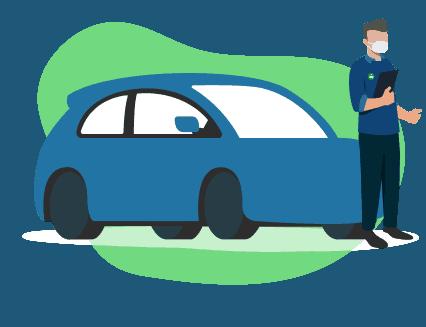 ilustração de uma pessoa com máscaro do lado de um carro