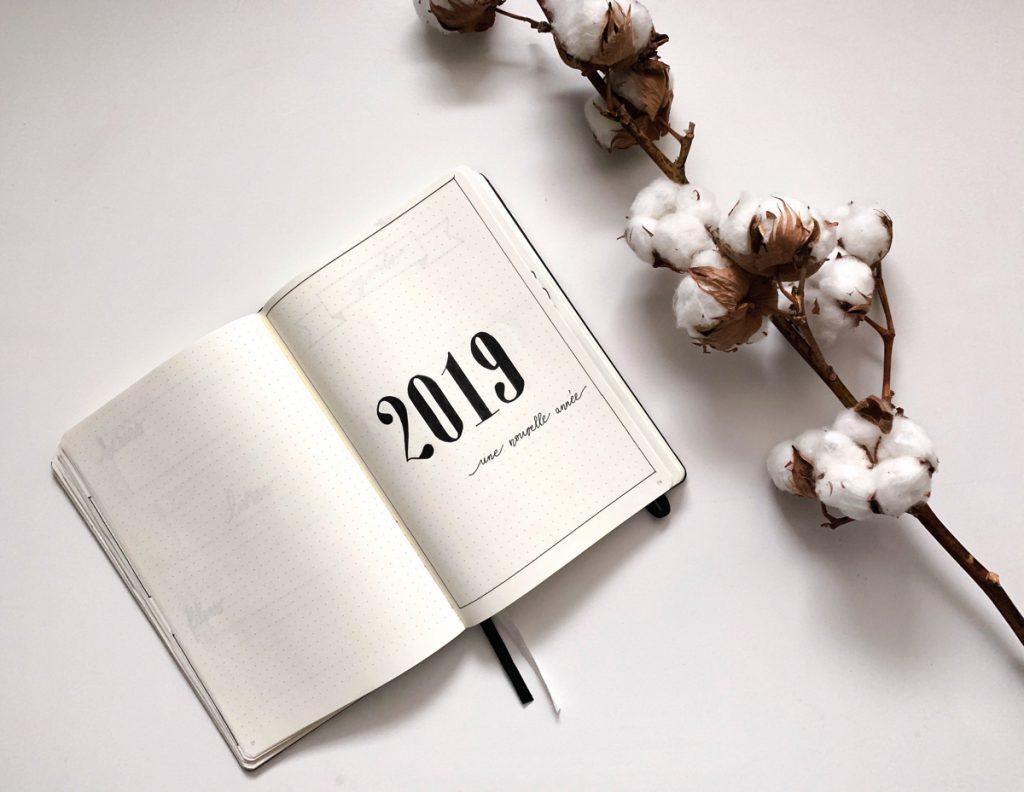Photo du bullet journal page de garde de l'année 2019 blog kahwa mon amour
