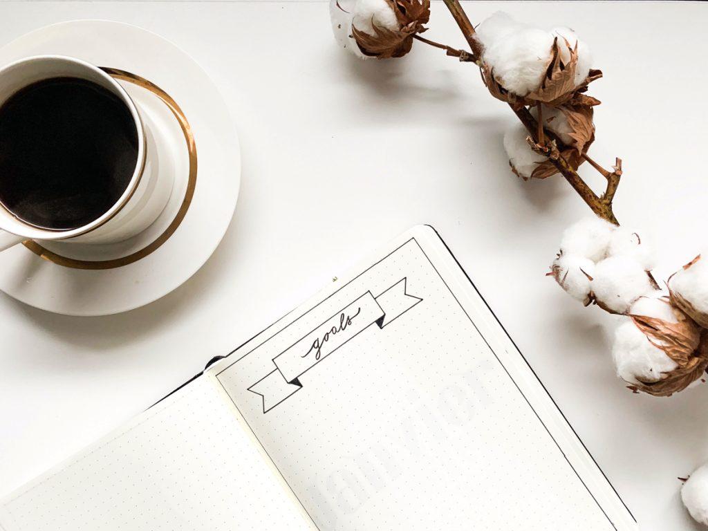 Photo du bullet journal page goals de l'année 2019 blog kahwa mon amour