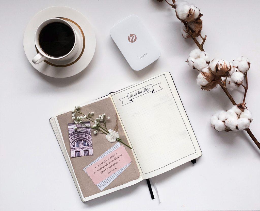 Photo du bullet journal page créative et imprimante blog kahwa mon amour