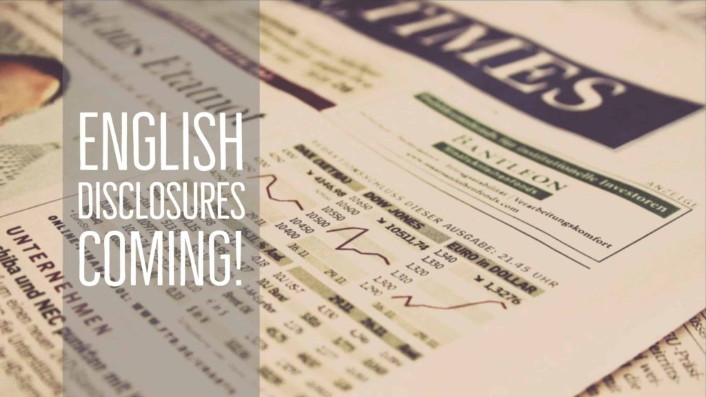 English Financial Disclosures Coming!