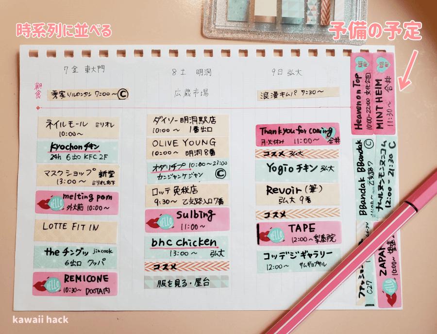 韓国旅行の旅程表を作ろう