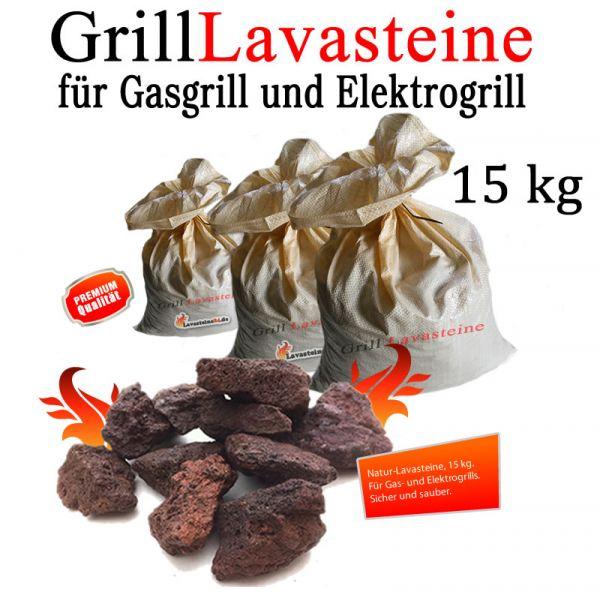 15 kg Grill Lavasteine für Gasgrill -Elektrogrill (1,19 € pro kg)