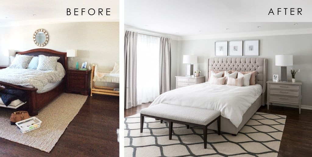 Before and after picture of a bedroom