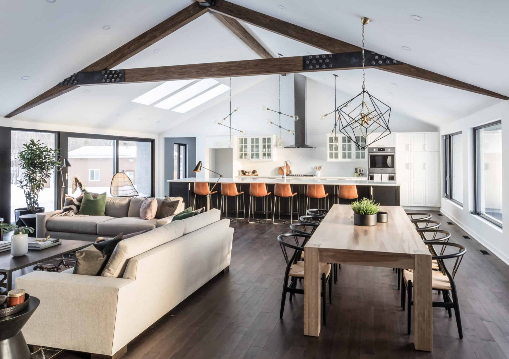Massive living room, dining room and kitchen open concept