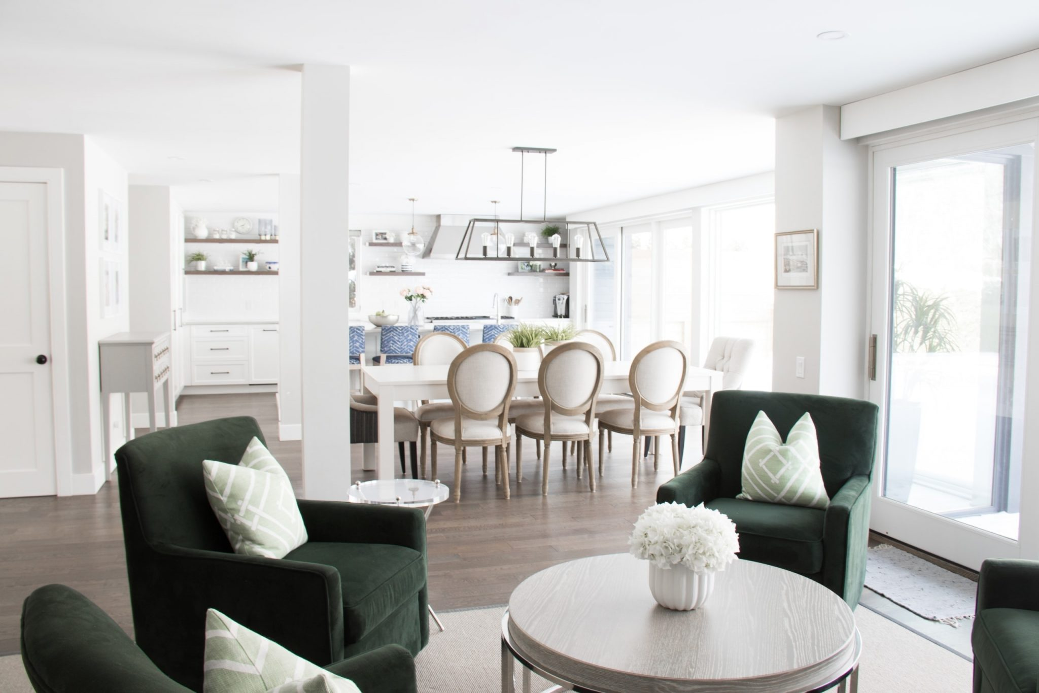 Living room, dining room and kitchen open concept