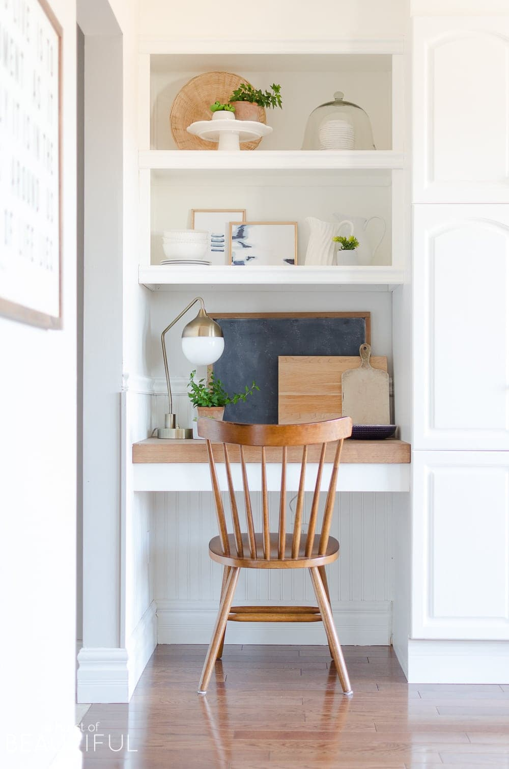 Small workspace with a basic wooden chair
