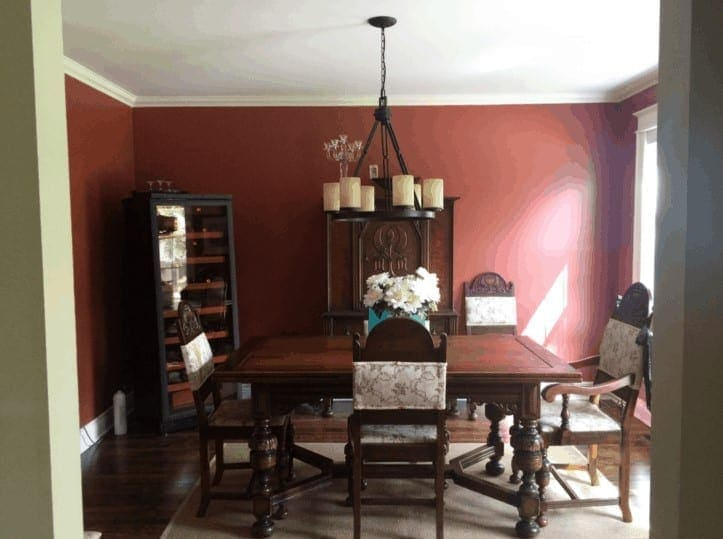 Dark dining room with red walls