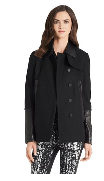 DVF - Eva Melton leather detail coat 2