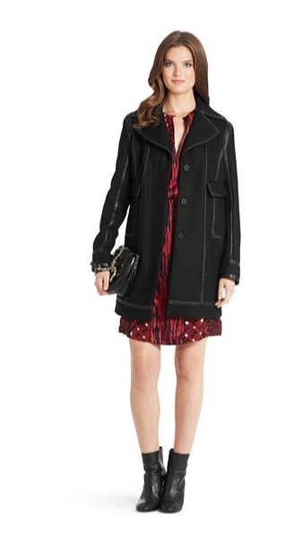 DVF - Pearl leather trim coat 4