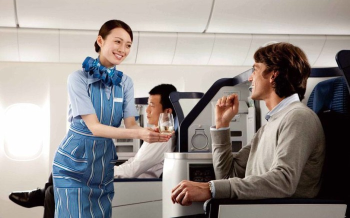 ANA business class - stewardess