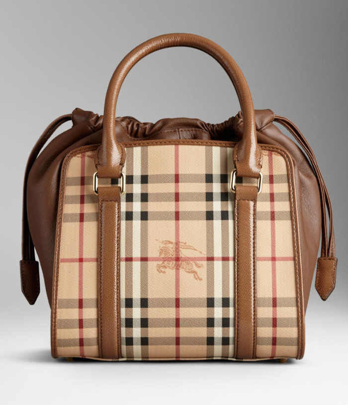 Burberry - SS  2014 Haymarket Check Detial Patent Bag 1
