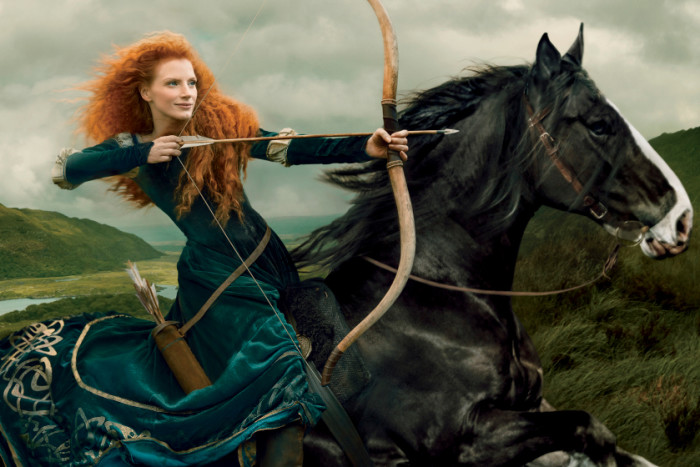 Jessica Chastain as Princess Merida in Latest Disney Dream Portrait by Annie Leibovitz for Walt Disney Parks & Resorts