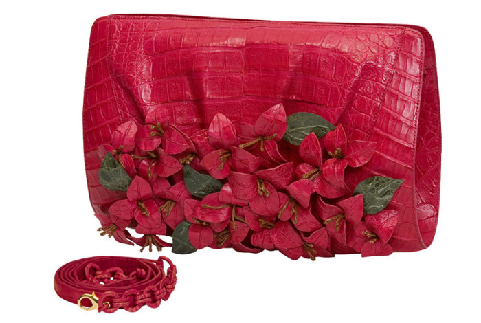 Nancy Gonzalez Crocodile Flower Clutch In Red