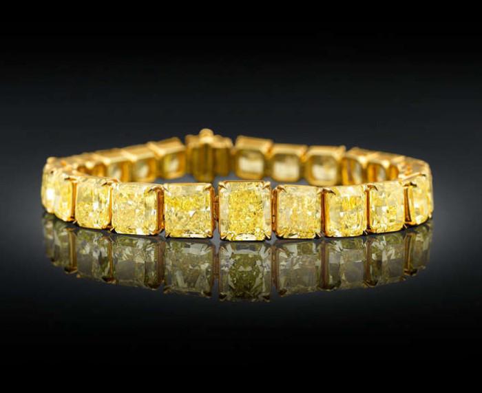 Natural Fancy Vivid Yellow Diamond Bracelet 1
