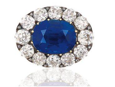 Evelina Rothschild Diamond & Kashmir Sapphire Brooch