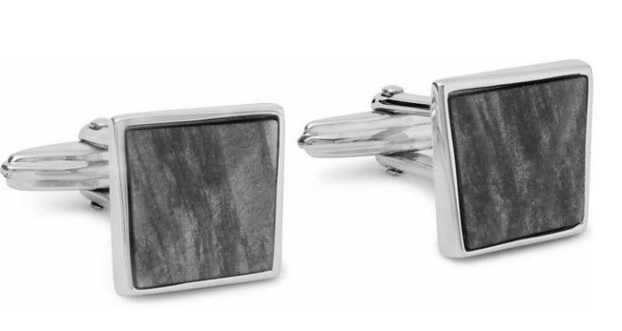 Father's Day - Lanvin Rhodium-Plated and Obsidian Cufflinks
