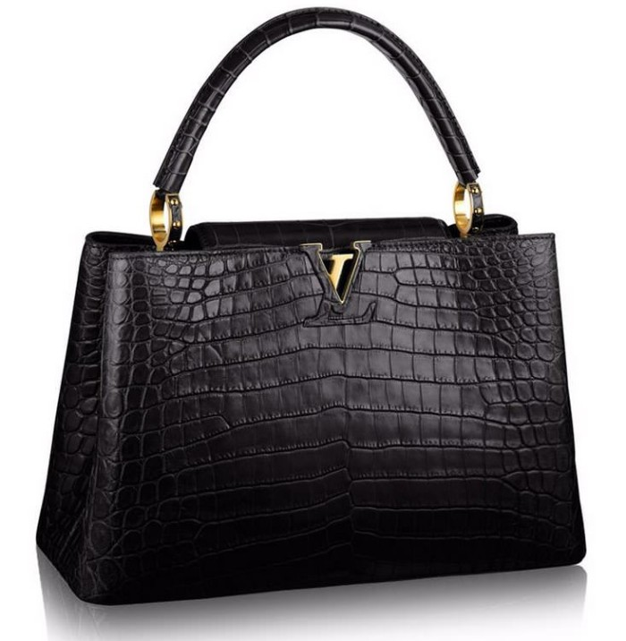 Louis Vuitton Capucines MM Crocodile Black