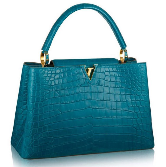 Louis Vuitton Capucines MM Crocodile Peacock Blue