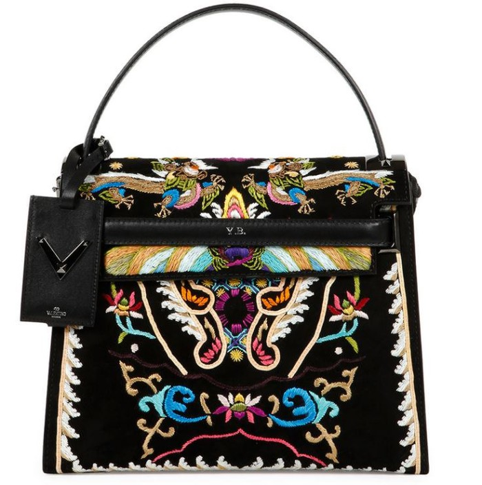 Valentino My Rockstud Embroidered Flap Bag