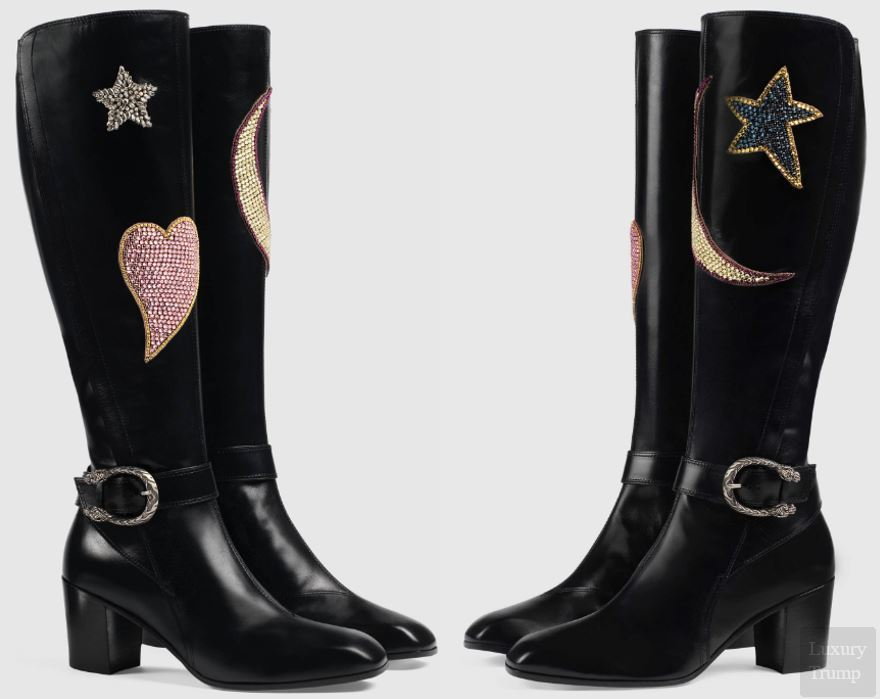 Gucci Embroidered Knee Boots