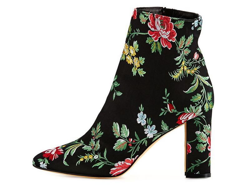 Manalo Blahnik Insopo Floral Ankle Boots