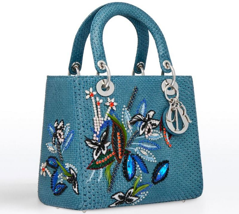 Dior 2017 Cruise Collection Lady Dior Blue Python